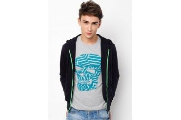urban TEE Hoodie With Coloured Zipper