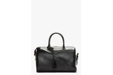 Saint Laurent Black Buffed Leather Duffle 6 Bag