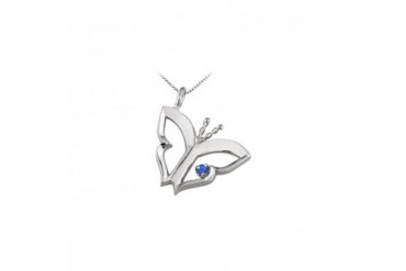 rfly Pendant Necklace with Created Sapphire in Sterling Silver 0.15 CT TGW.