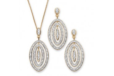1.54 TCW Pave CZ Concentric Oval 2-Pc. Jewelry Set