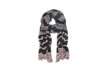 Black and Pink Zig Zag Viscose Blend Long Scarf
