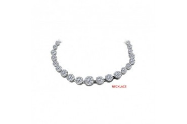 Cubic Zirconia Graduated Necklace in Sterling Silver