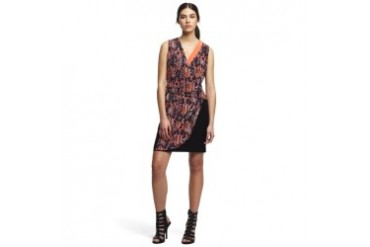 Dylan Patterned Faux-Wrap Dress