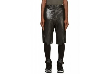D.gnak By Kang.d Black Leather And Denim Zip Shorts