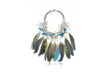 Crystals and Feathers Necklace