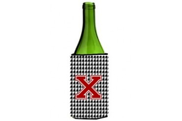 Monogram - Houndstooth Initial X Wine Bottle Beverage Insulator Beverage