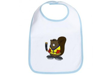 Hockey Beaver Baby Bib by CafePress