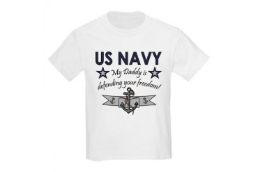 NAVY Daddy defending freedom Kids T-Shirt