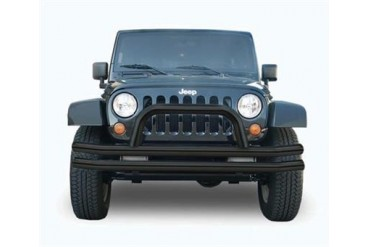 Rampage Double Tube Front Bumper with Hoop in Black Powder Coat  86620 Front Bumpers