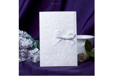 Floral Style Wrap & Pocket Invitation Cards With Bows (set of 50) (114039009)