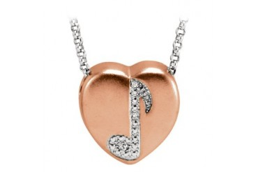 Music Note Heart Pendant Necklace With Conflict Free Diamonds
