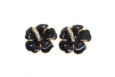 Black Enamel amp Cubic Zirconia Hibiscus Earrings