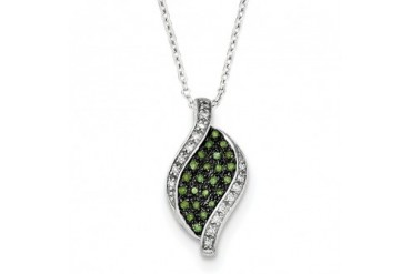1 5 Ctw Green amp White Diamond Swirl Necklace in Sterling Silver