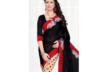 Brilliant Beige N Black Half And Half Saree