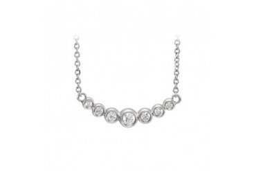 Cubic Zirconia Graduated Bezel Set Necklace in Silver