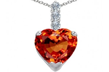 Star K 12mm Heart Shape Simulated Mexican Orange Fire Opal Pendant
