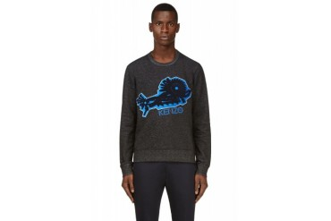Kenzo Charcaol Embroidered Mechanism Sweatshirt