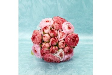 Lovely Round Satin Bridesmaid Bouquets (123032443)