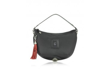 Linea Bold - Black Canvas Shoulder Bag