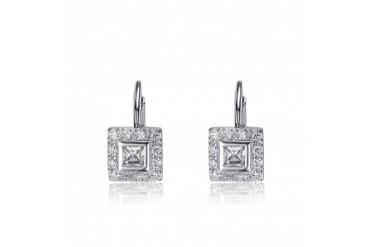 Sterling Silver Cubic Zirconia Square Drop Earrings