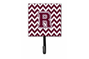 Letter Chevron Maroon and White Leash or Key Holder CJ1051