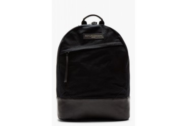 Want Les Essentiels De La Vie Black Wool Leather trimmed Kastrup Backpack