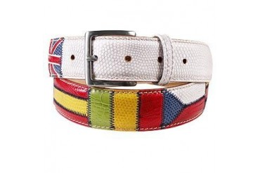 Flags Patchwork Leather Belt