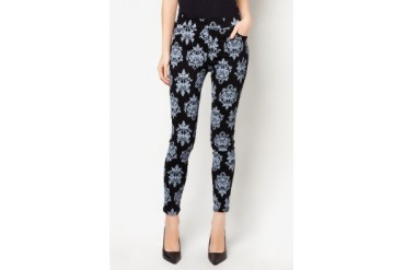 CLUB ZEN Jeggings with Coral Print