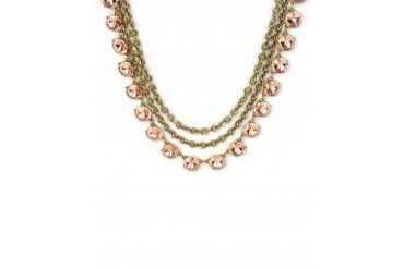 Robert Rose Double Row Chain Necklace With Crystals Peach