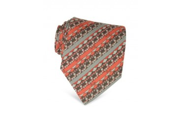 Diagonal Orange and Gray Stripe Twill Silk Tie