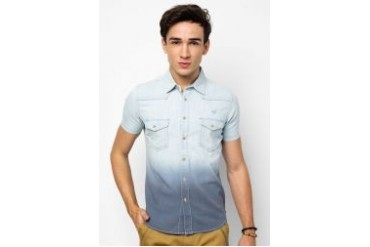 Wisedragon Short Sleeve Two Toned Denim Shirt
