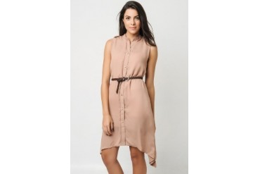Coral Buttondown Swing dress with belt