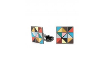 Multi-Coloured Geometric Men's Cufflinks