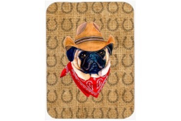 Pug Dog Country Lucky Horseshoe Glass Cutting Board Large