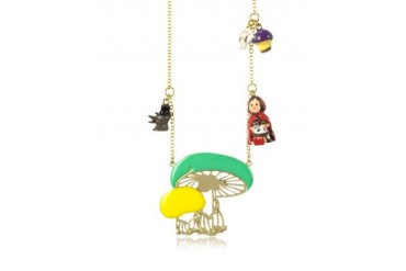 Chaperon et Champignons Little Red Riding Hood Wolf and Mushrooms Long Necklace