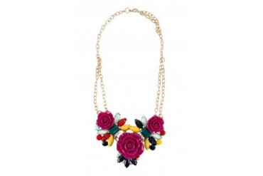 Saturation Multi-Colour Gem and Rose Necklace