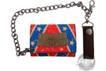 Lynyrd Skynyrd Rebel Flag Leather Tri-Fold Wallet with Chain