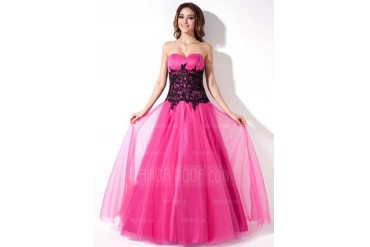 A-Line/Princess Sweetheart Floor-Length Tulle Prom Dress With Ruffle Lace (018004822)