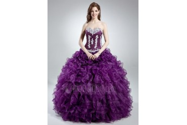 Ball-Gown Sweetheart Floor-Length Organza Satin Quinceanera Dress With Lace (021016039)
