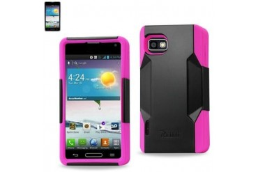 Silicon Case And Plastic Cover Lg Optimus F3 Ls720 Hot Pink Black