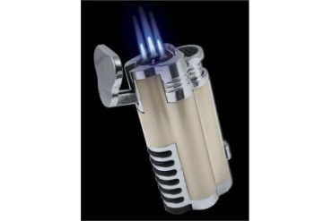 Gentleman's Triple Torch Cigar Lighter With Retractable Hole Punch