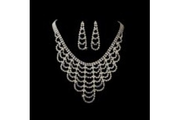 Elegance By Carbonneau Necklace & Earring Set - Style NE366-SilverAB