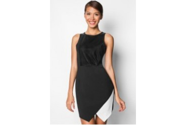 Faux Leather Bodice Dress