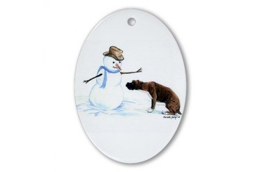Boxer and Snowman Oval Ornament