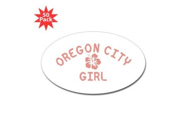 Oregon City Pink Girl Oregon Sticker Oval 50 pk by CafePress
