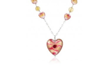Vortice - Pink Murano Glass Swirling Heart Sterling Silver Necklace