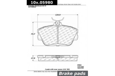 1996-2007 Ford Taurus Brake Pad Set Centric Ford Brake Pad Set 106.05980 96 97 98 99 00 01 02 03 04 05 06 07