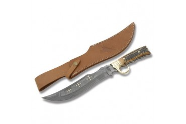 Colt Gunstock Saddle Bowie with Damascus Blade