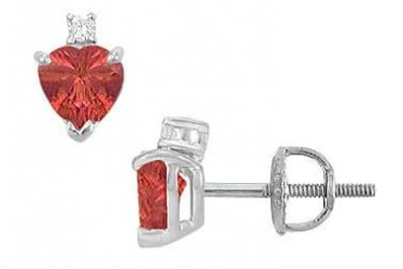 Cubic Zirconia and Created Ruby Stud Earrings 14K White Gold 2.04 CT TGW