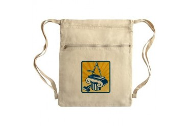 Masonry Trowel Compass Mallet and Column Retro Sac Retro Cinch Sack by CafePress